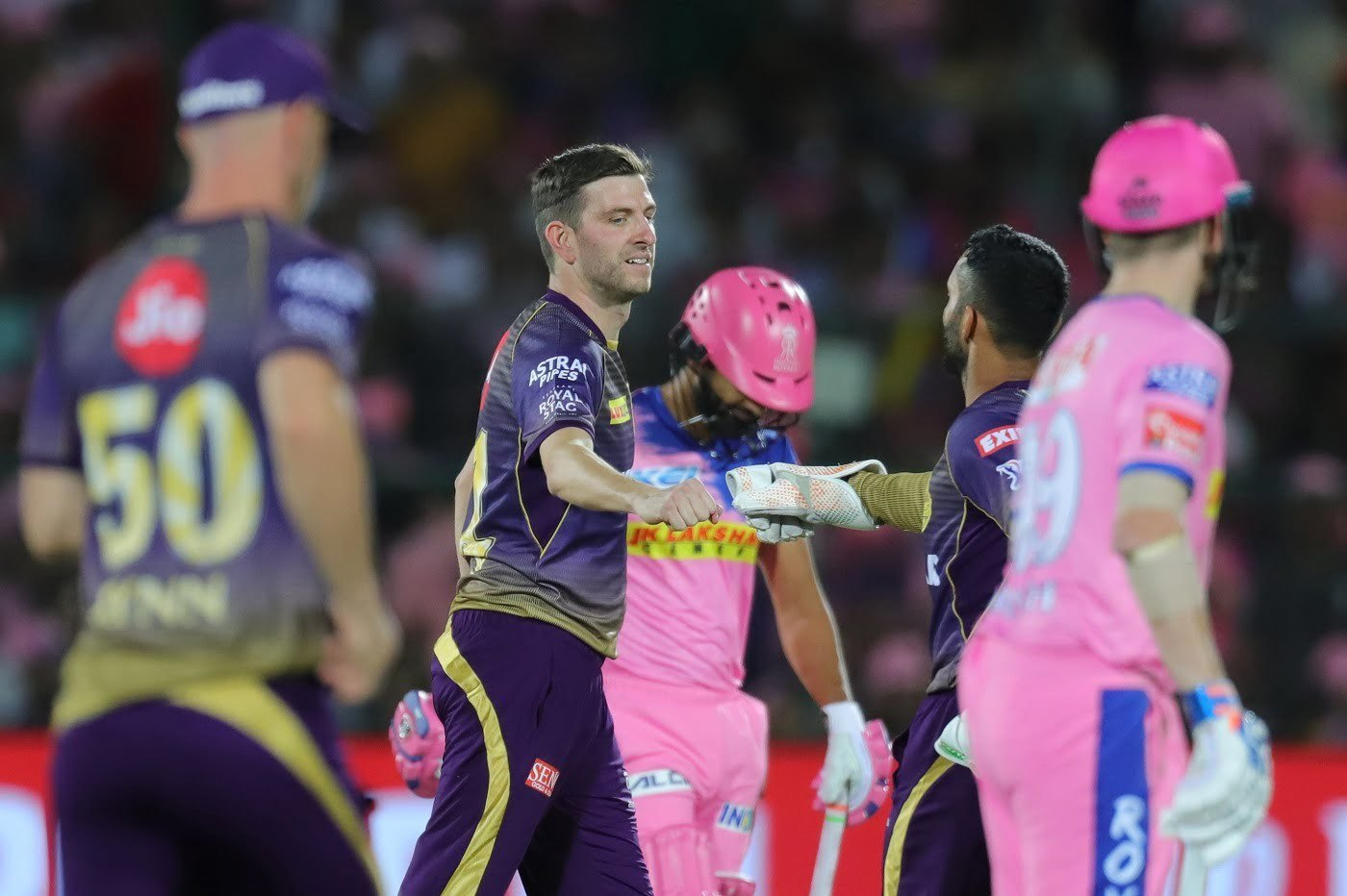 Harry Gurney of Kolkata Knight Riders celebrates the wicket of Rahul Tripathi of Rajasthan Royals
